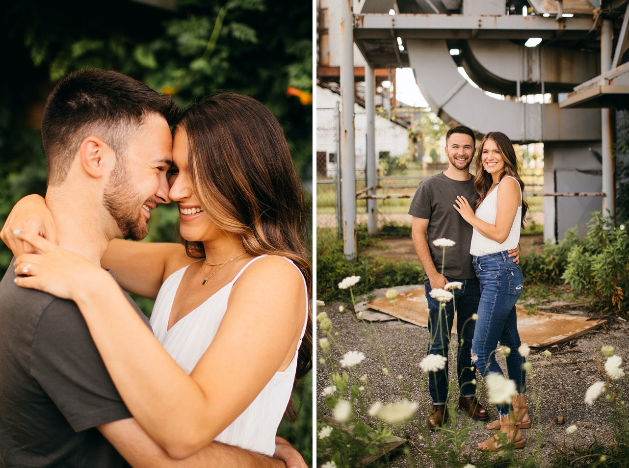 A couple embrace and smile for the camera during their engagement photos at The Foundry in Chattanooga.