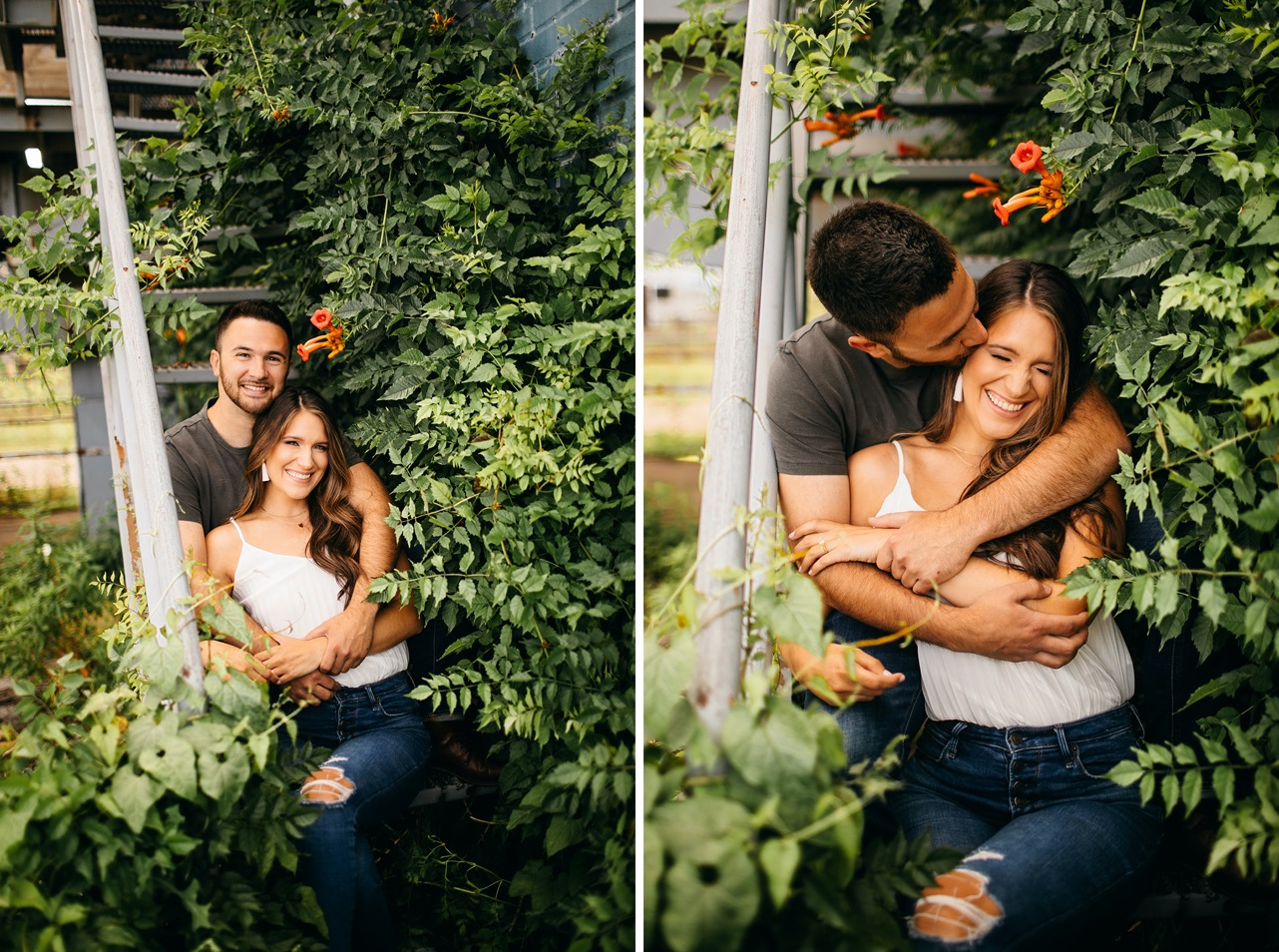 A man and woman pose together on a set of overgrown metal stairs at The Foundry in Chattanooga.