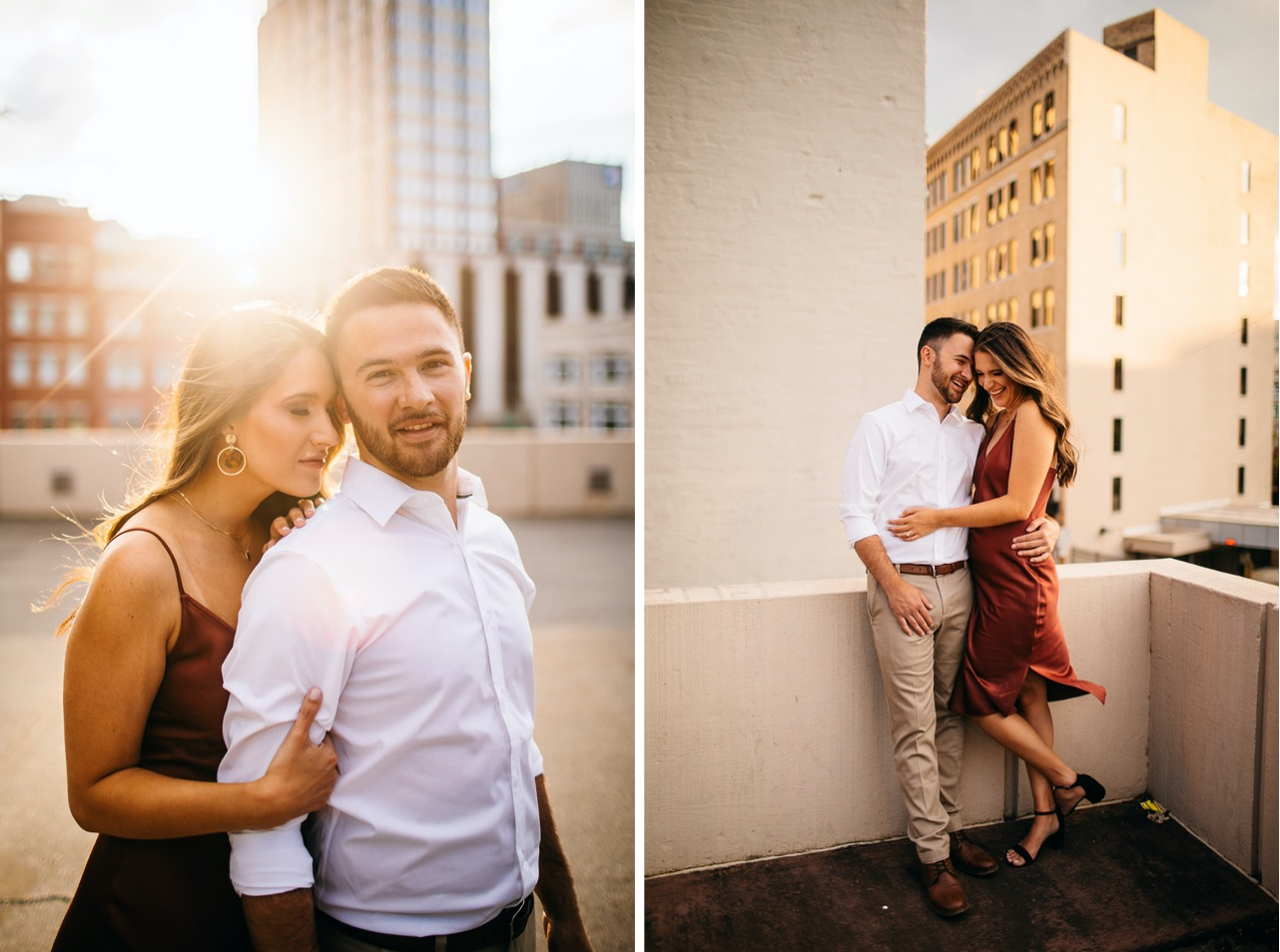 A man puts his arm around his fiance during their engagement session on a downtown Chattanooga rooftop.