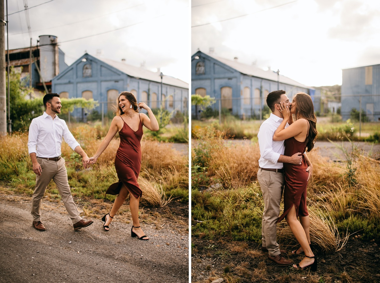 A woman leads her fiancé by the hand on a gravel path at The Foundry in Chattanooga.