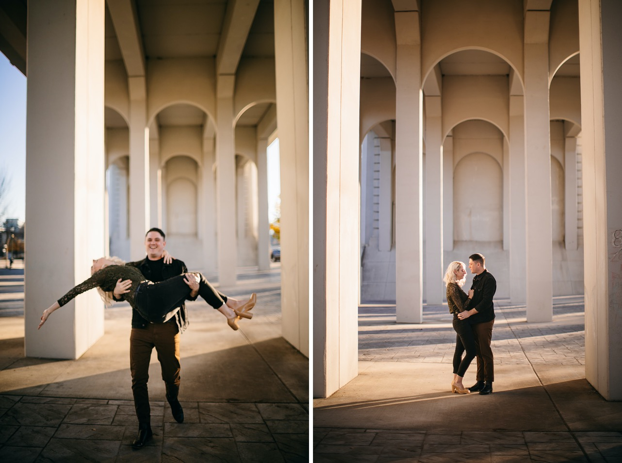 A man and woman embrace facing one another under the Market Street Bridge.