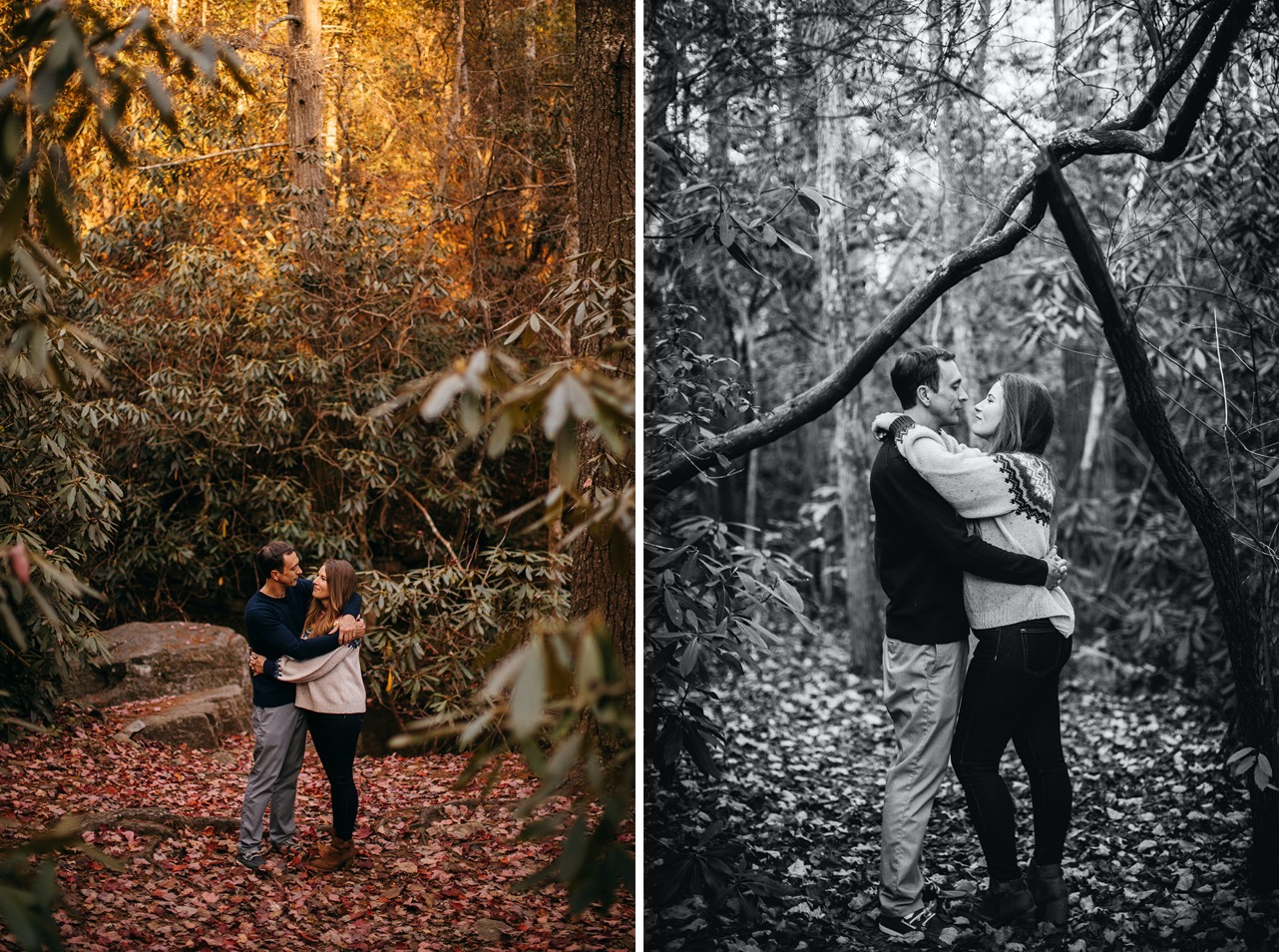 A couple embrace standing in the autumn woods near the Ocoee.