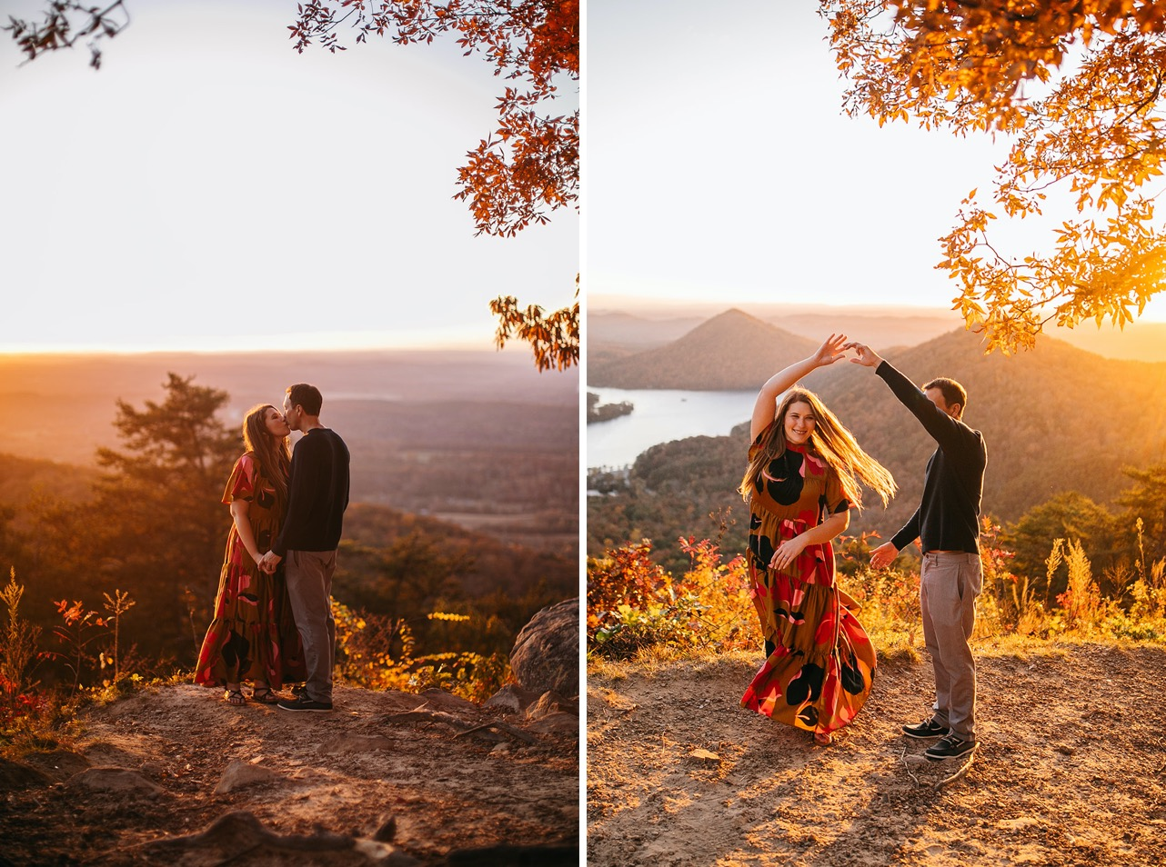An engaged couple dance on a ridge at sunset.