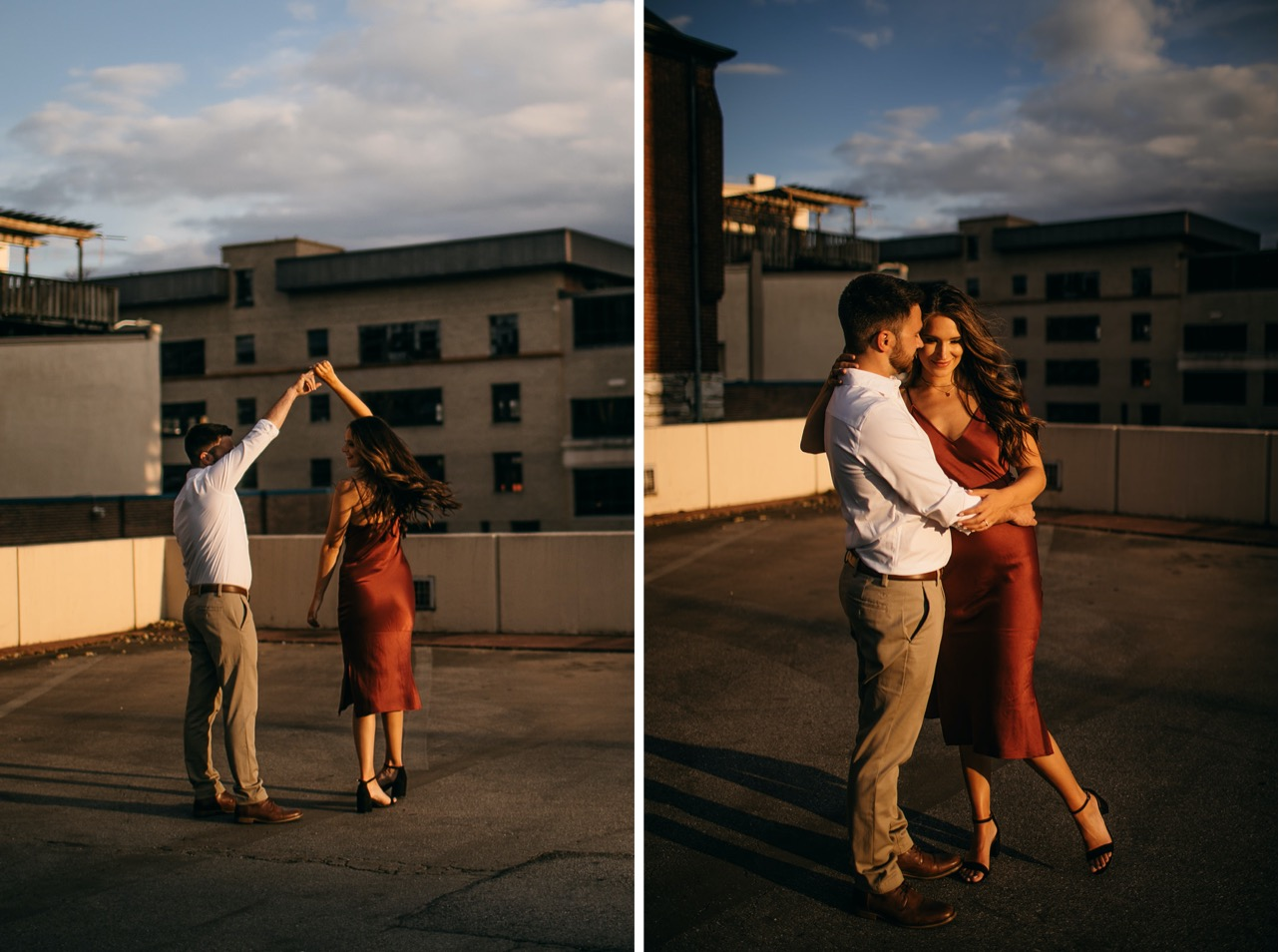 Man and woman dance together during their engagement photos in downtown Chattanooga.