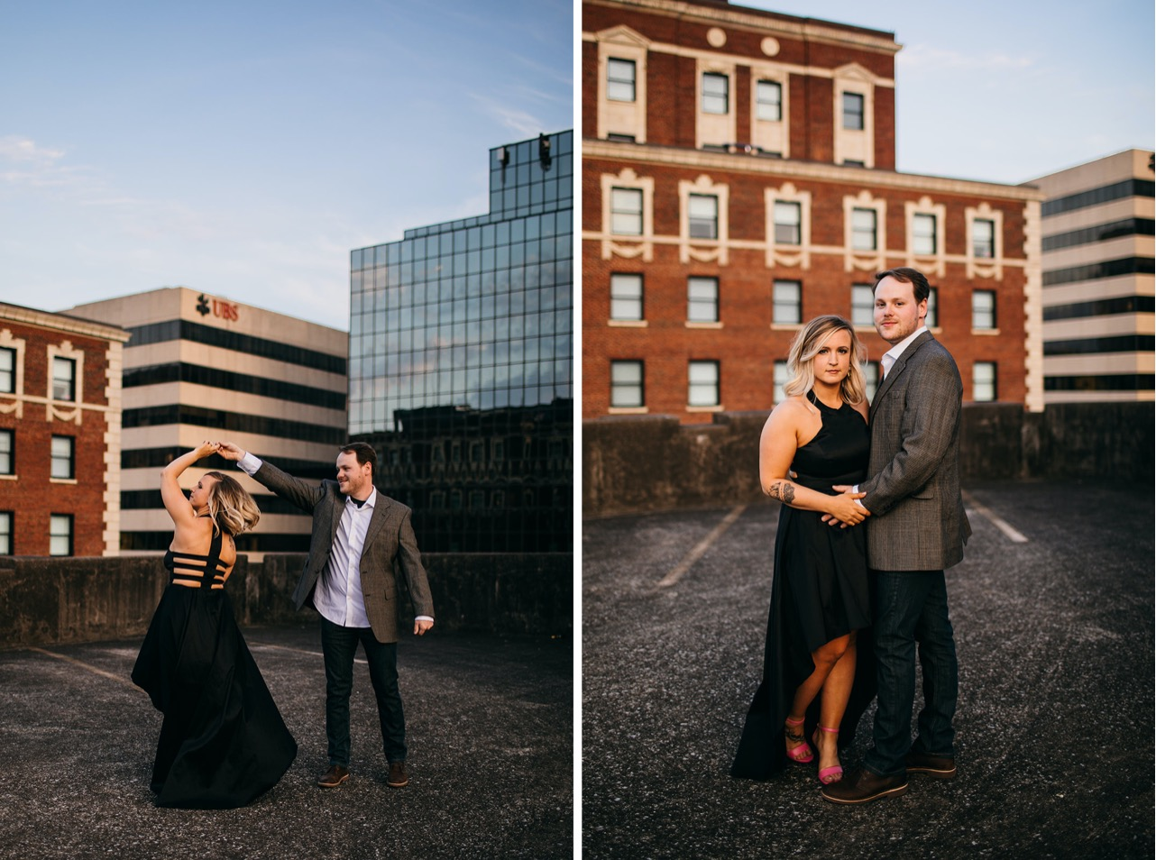 Engaged couple in formalwear dances together on a rooftop in downtown Chattanooga.