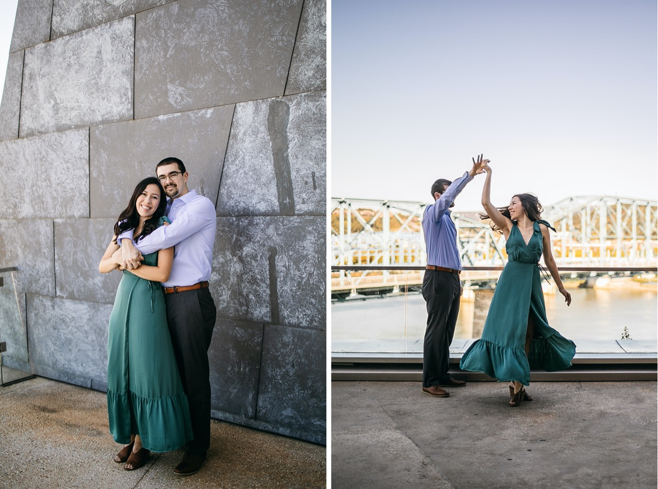 A couple smiles and poses together underneath the Walking Bridge in Chattanooga.