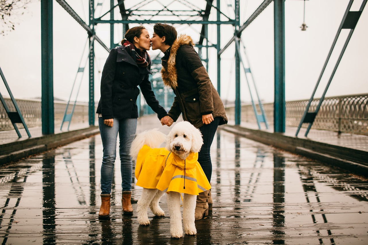 A lesbian couple hold hands and kiss over their white poodle, who's wearing a yellow raincoat.