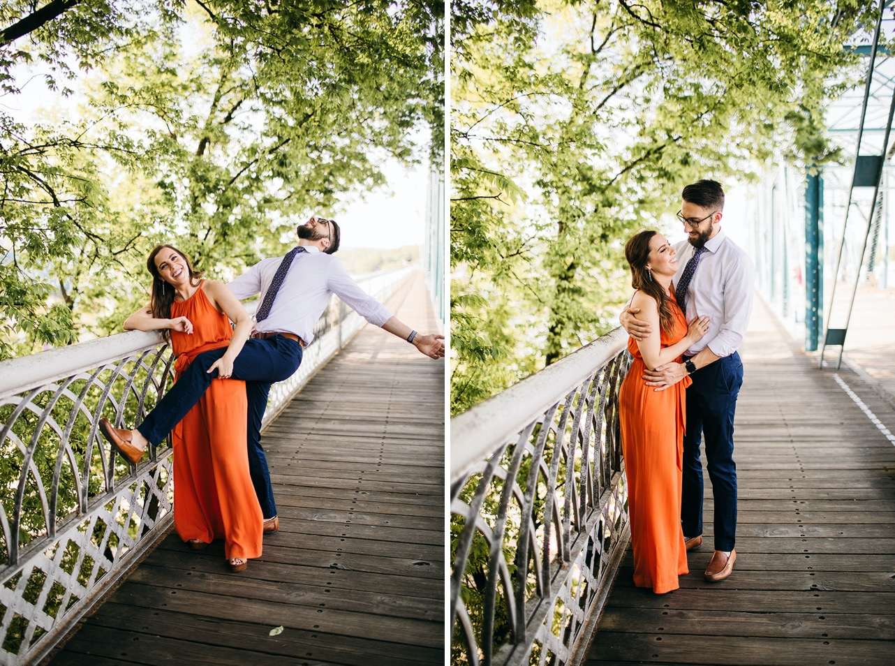 A couple embraces and laughs against the metal railing of the Walking Bridge in Chattanooga.
