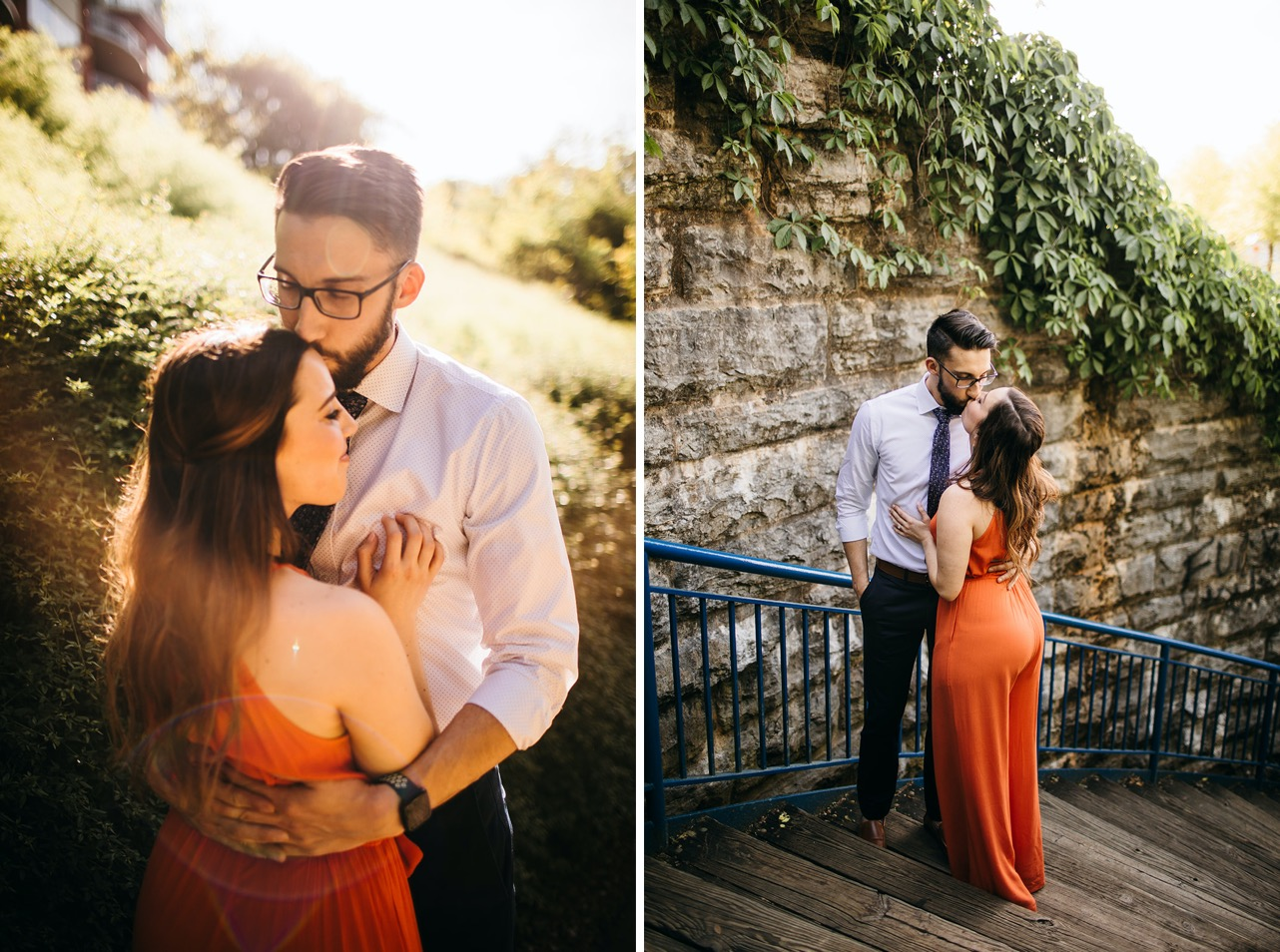 A couple embrace and share a kiss on the stairs of the Walking Bridge during their Chattanooga engagement photos
