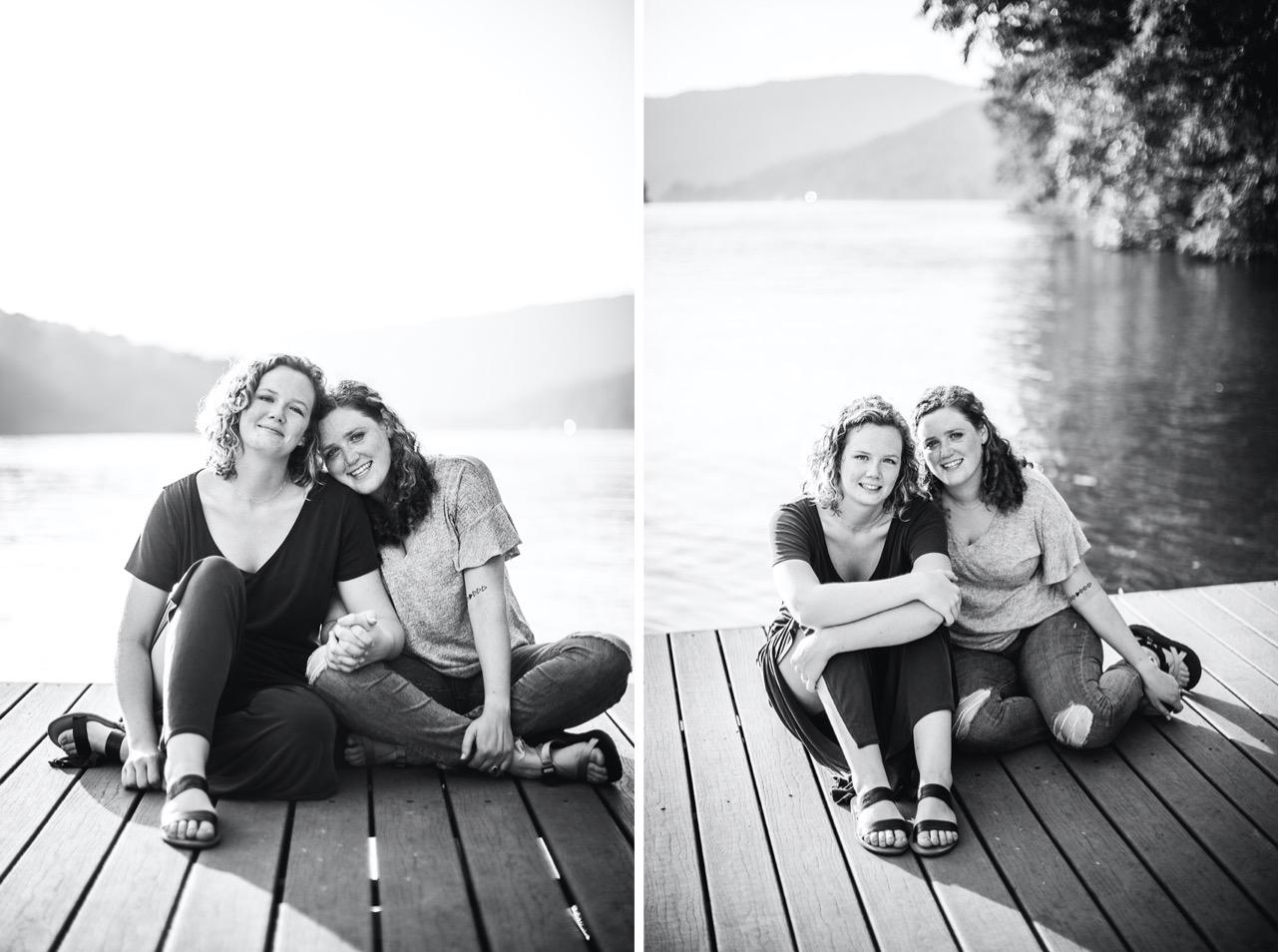 A lesbian couple cuddle up next to each other on a dock on the Tennessee River.