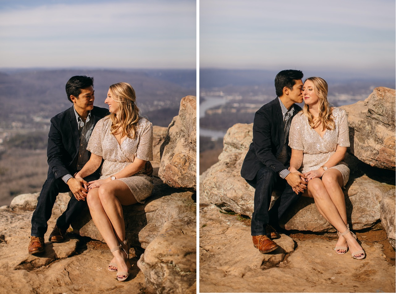 A couple sits together on a rock holding hands during their engagement photo session on Sunset Rock in Chattanooga.