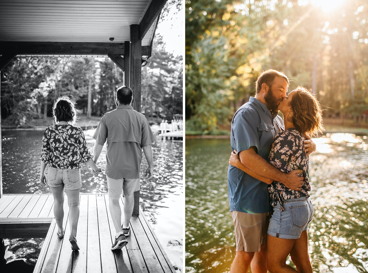A couple walk hand-in-hand on a dock on the Tennessee River.