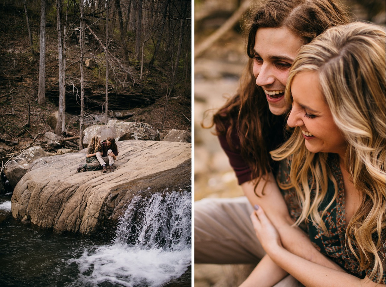An engaged couple sits together on a wide rock in Middle Creek near Chattanooga.