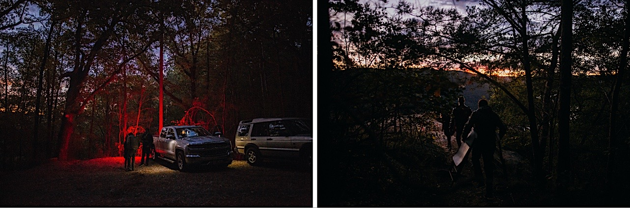 couples family set up for a sunrise elopement at Snooper's Rock