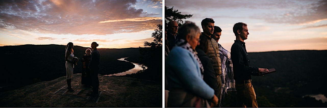 bride and groom smile at each other during their sunrise elopement at Snooper's Rock
