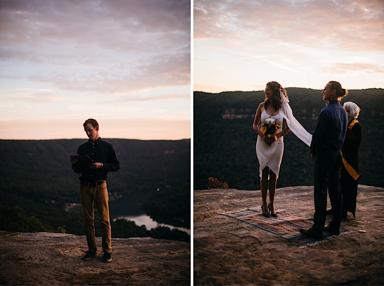 bride and groom's friend reads from a book at the couple's sunrise elopement