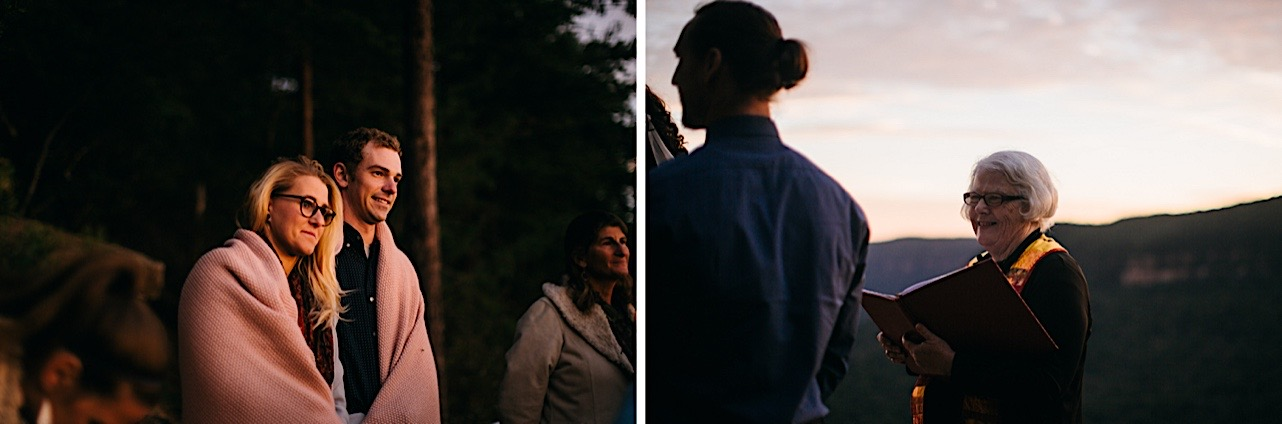 guests cry during a sunrise elopement at Snooper's Rock