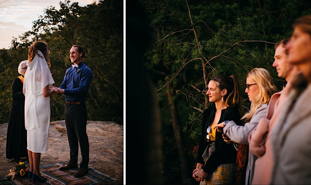 groom smiles and holds brides hands during their elopement