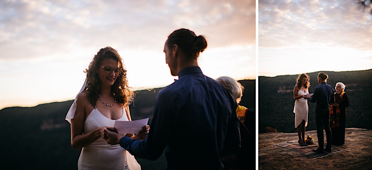 bride reads her vows to the groom during their sunrise elopement
