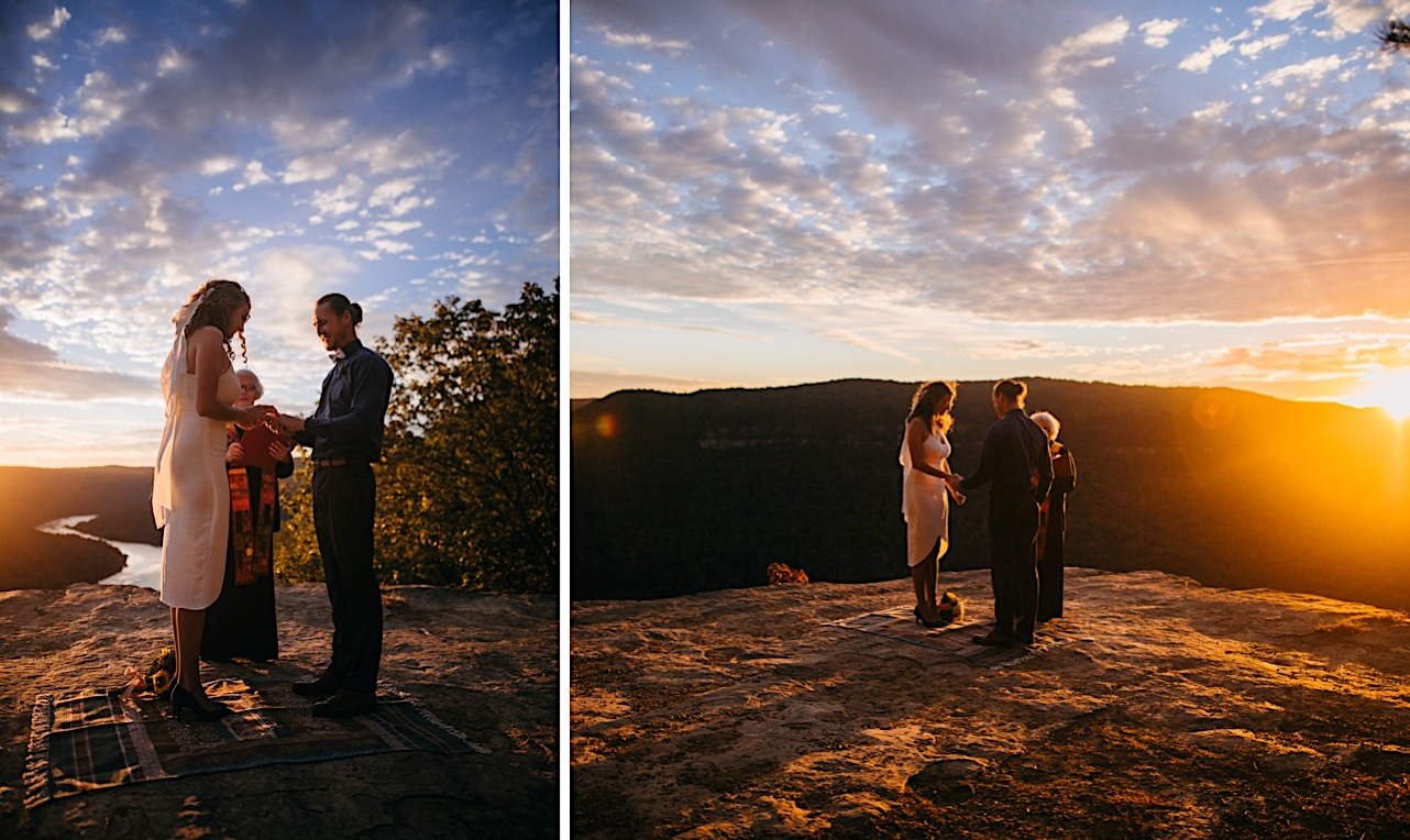groom smiles and reads his vows at their sunrise elopement