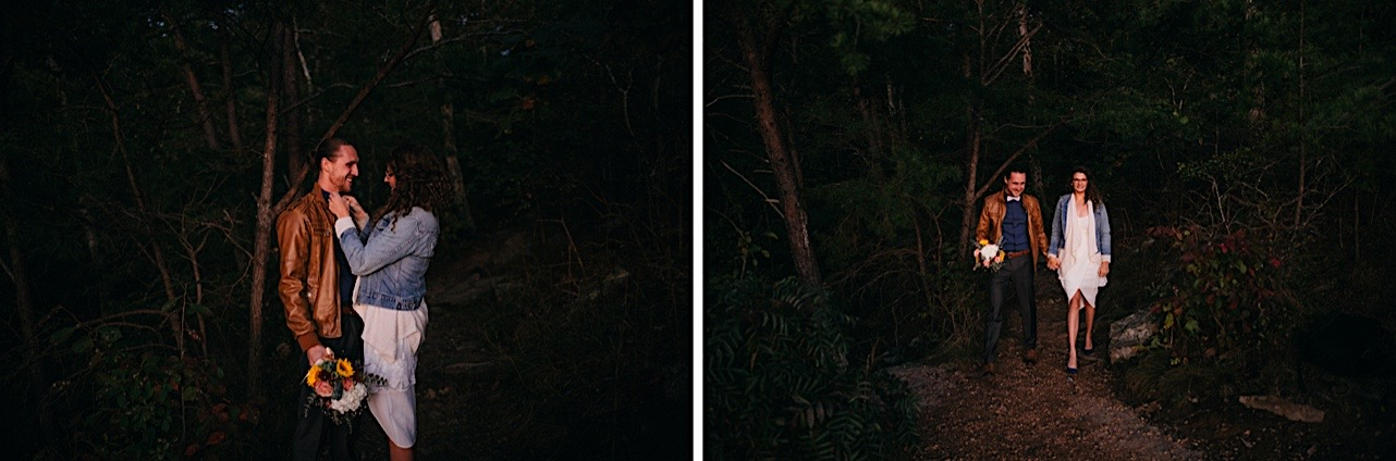 bride and groom walk through the forest during their Snooper's Rock sunrise elopement