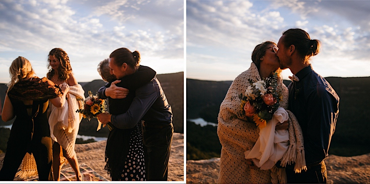 groom hugs guests at his elopement