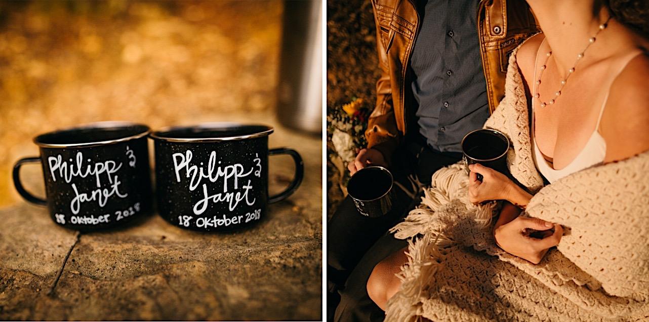 wedding favor mugs at a sunrise elopement
