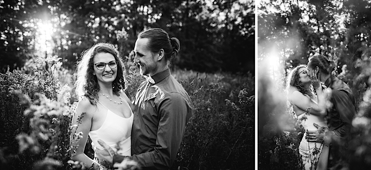 groom smiles at bride as she laughs at their elopement